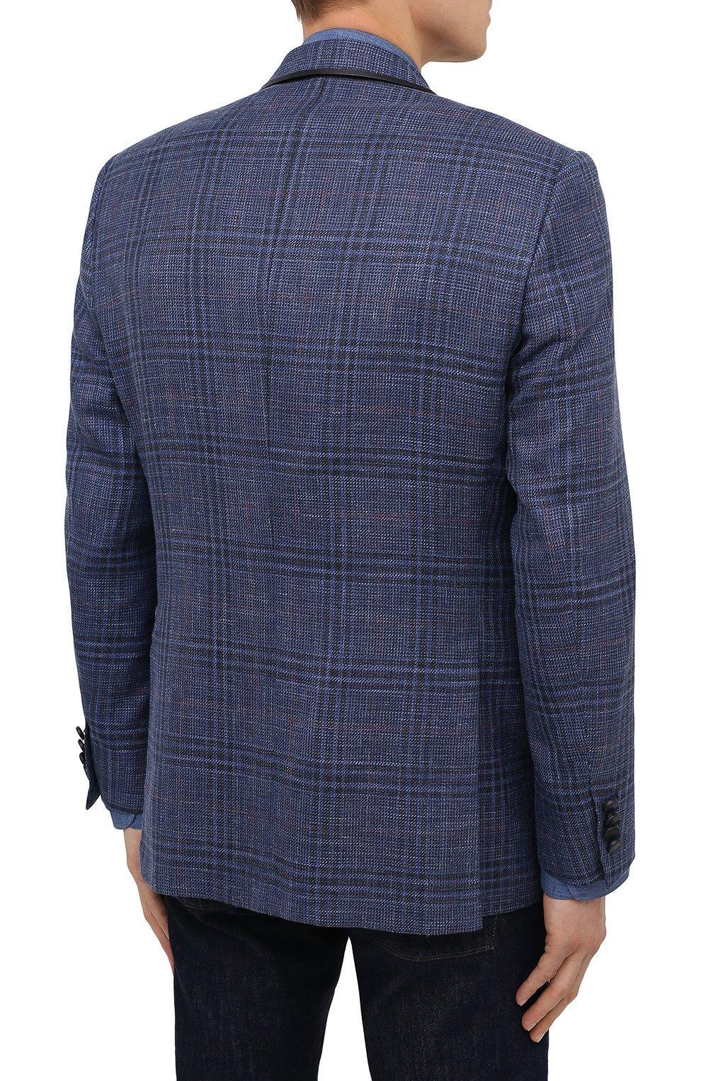 Мужской пиджак из шерсти и шелка BRIONI синего цвета, арт. RG070L/P0A3W/D0R0TE0 | Фото 4
