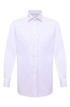 Мужская хлопковая сорочка BRIONI сиреневого цвета, арт. RCB20M/PZ000 | Фото 1 (Воротник: Акула; Стили: Классический; Принт: Однотонные; Рукава: Длинные; Материал внешний: Хлопок; Случай: Формальный; Рубашки М: Regular Fit; Манжеты: Под запонки; Длина (для топов): Стандартные)