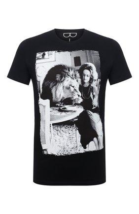 Мужская хлопковая футболка BISIBIGLIO черно-белого цвета, арт. DINNER LI0N/RIF (C0TT0NE PESANTE) | Фото 1