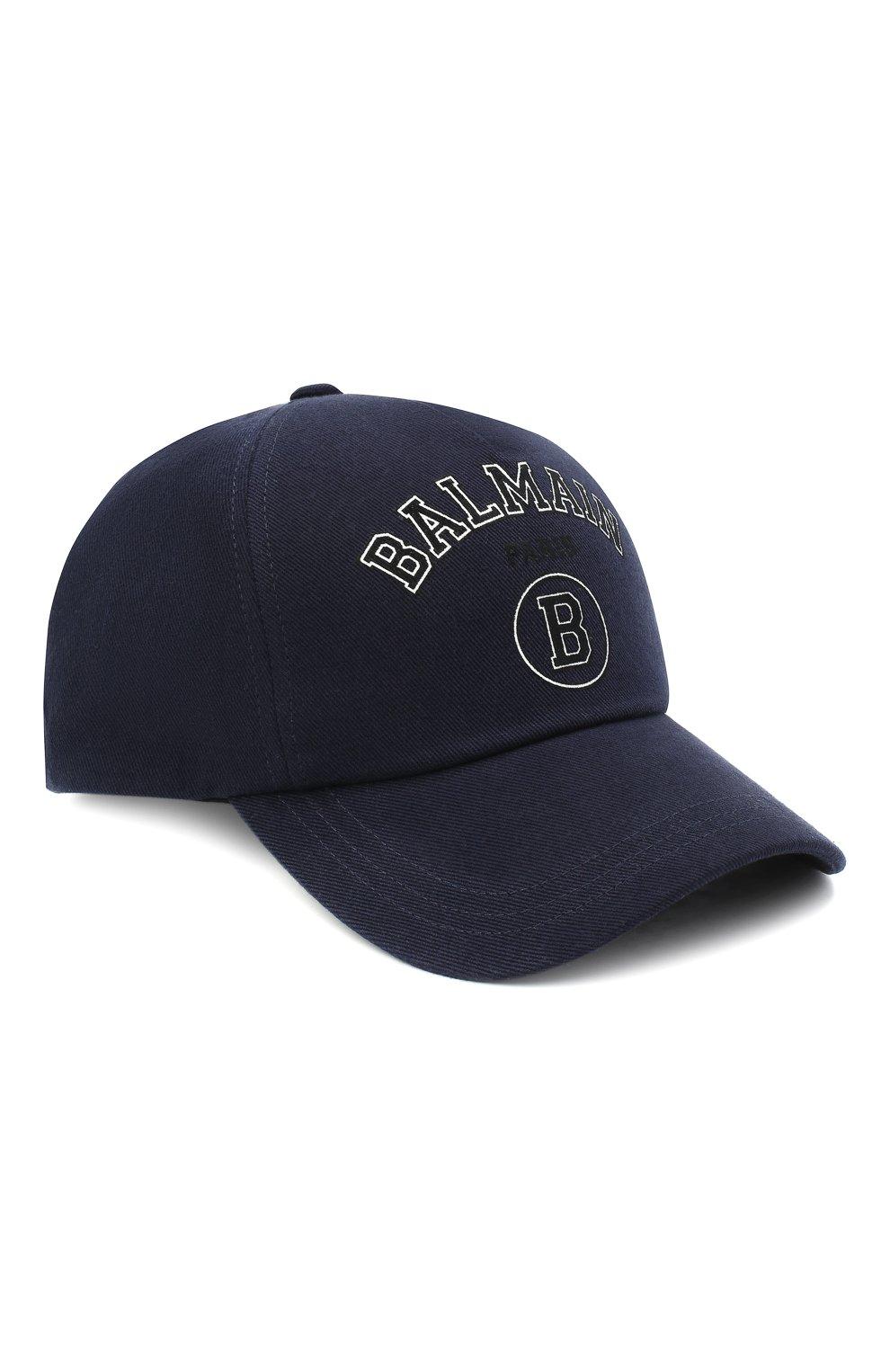 Мужской хлопковая бейсболка BALMAIN темно-синего цвета, арт. VH1XA000/B015 | Фото 1