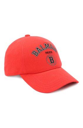 Мужской хлопковая бейсболка BALMAIN красного цвета, арт. VH1XA000/B015 | Фото 1