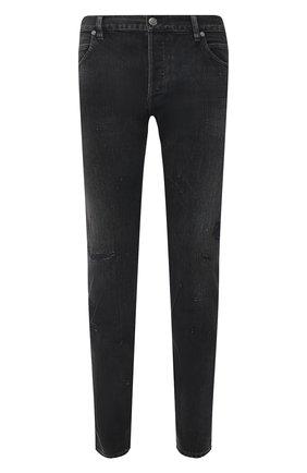 Мужские джинсы BALMAIN темно-серого цвета, арт. VH1MH000/099D   Фото 1 (Детали: Потертости; Силуэт М (брюки): Узкие; Материал внешний: Хлопок; Стили: Гранж; Кросс-КТ: Деним; Длина (брюки, джинсы): Стандартные)