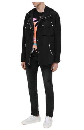 Мужские джинсы BALMAIN темно-серого цвета, арт. VH1MH000/099D   Фото 2 (Детали: Потертости; Силуэт М (брюки): Узкие; Материал внешний: Хлопок; Стили: Гранж; Кросс-КТ: Деним; Длина (брюки, джинсы): Стандартные)