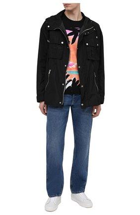 Мужская хлопковая футболка BALMAIN черного цвета, арт. VH1EF000/G043   Фото 2 (Принт: С принтом; Материал внешний: Хлопок; Стили: Кэжуэл; Рукава: Короткие; Длина (для топов): Стандартные)