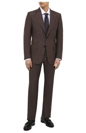 Мужской костюм из шелка и льна TOM FORD коричневого цвета, арт. 976R13/21AA43 | Фото 1
