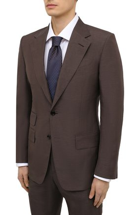 Мужской костюм из шелка и льна TOM FORD коричневого цвета, арт. 976R13/21AA43 | Фото 2