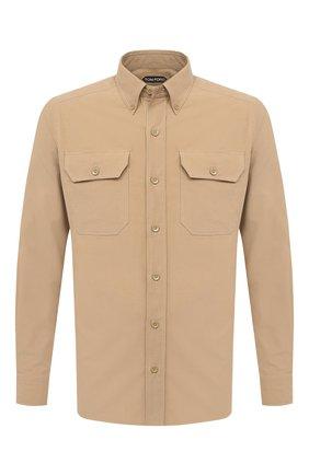 Мужская хлопковая рубашка TOM FORD бежевого цвета, арт. 9FT878/94UDAN | Фото 1 (Рубашки М: Slim Fit; Рукава: Длинные; Длина (для топов): Стандартные; Стили: Кэжуэл; Принт: Однотонные; Случай: Повседневный; Материал внешний: Хлопок; Манжеты: На пуговицах; Воротник: Button down)