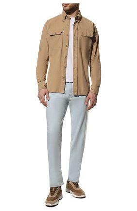 Мужская хлопковая рубашка TOM FORD бежевого цвета, арт. 9FT878/94UDAN | Фото 2 (Рубашки М: Slim Fit; Рукава: Длинные; Длина (для топов): Стандартные; Стили: Кэжуэл; Принт: Однотонные; Случай: Повседневный; Материал внешний: Хлопок; Манжеты: На пуговицах; Воротник: Button down)