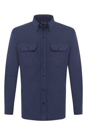 Мужская хлопковая рубашка TOM FORD синего цвета, арт. 9FT887/94UDAN | Фото 1 (Случай: Повседневный; Длина (для топов): Стандартные; Материал внешний: Хлопок; Воротник: Button down; Рукава: Длинные; Принт: Однотонные; Стили: Кэжуэл; Манжеты: На пуговицах; Рубашки М: Slim Fit)