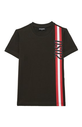 Детская хлопковая футболка DSQUARED2 темно-коричневого цвета, арт. DQ0192-D00MQ | Фото 1