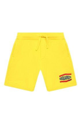 Детские хлопковые шорты DSQUARED2 желтого цвета, арт. DQ0216-D002Y | Фото 1