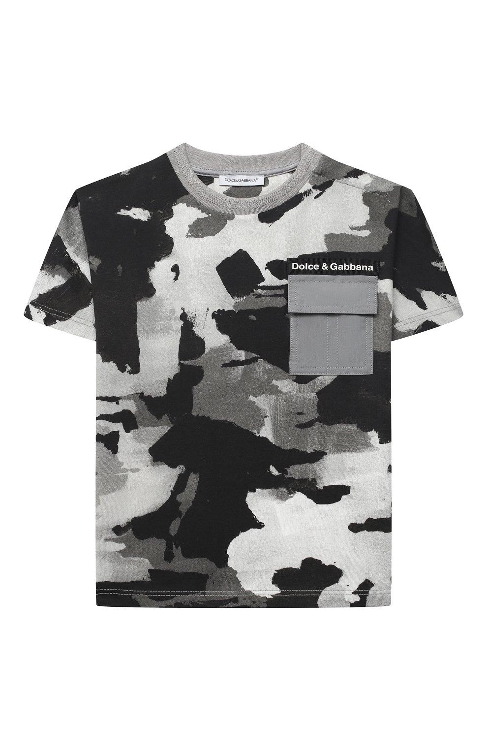 Детский хлопковая футболка DOLCE & GABBANA серого цвета, арт. L1JTCN/HS7E2 | Фото 1