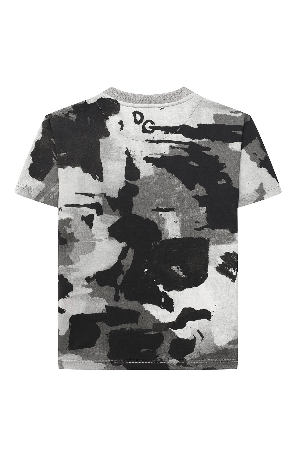 Детский хлопковая футболка DOLCE & GABBANA серого цвета, арт. L1JTCN/HS7E2 | Фото 2