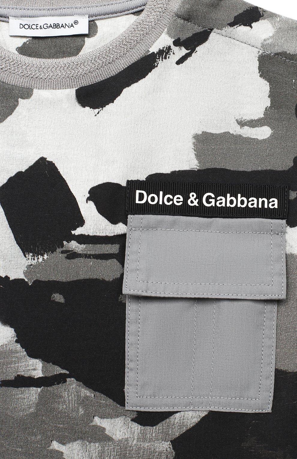Детский хлопковая футболка DOLCE & GABBANA серого цвета, арт. L1JTCN/HS7E2 | Фото 3