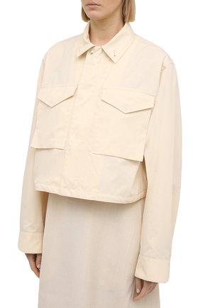 Женская хлопковая рубашка JIL SANDER кремвого цвета, арт. JSPS420305-WS251800 | Фото 3
