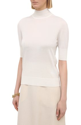 Женский пуловер из кашемира и шелка JIL SANDER белого цвета, арт. JSPS754034-WSY11008 | Фото 3