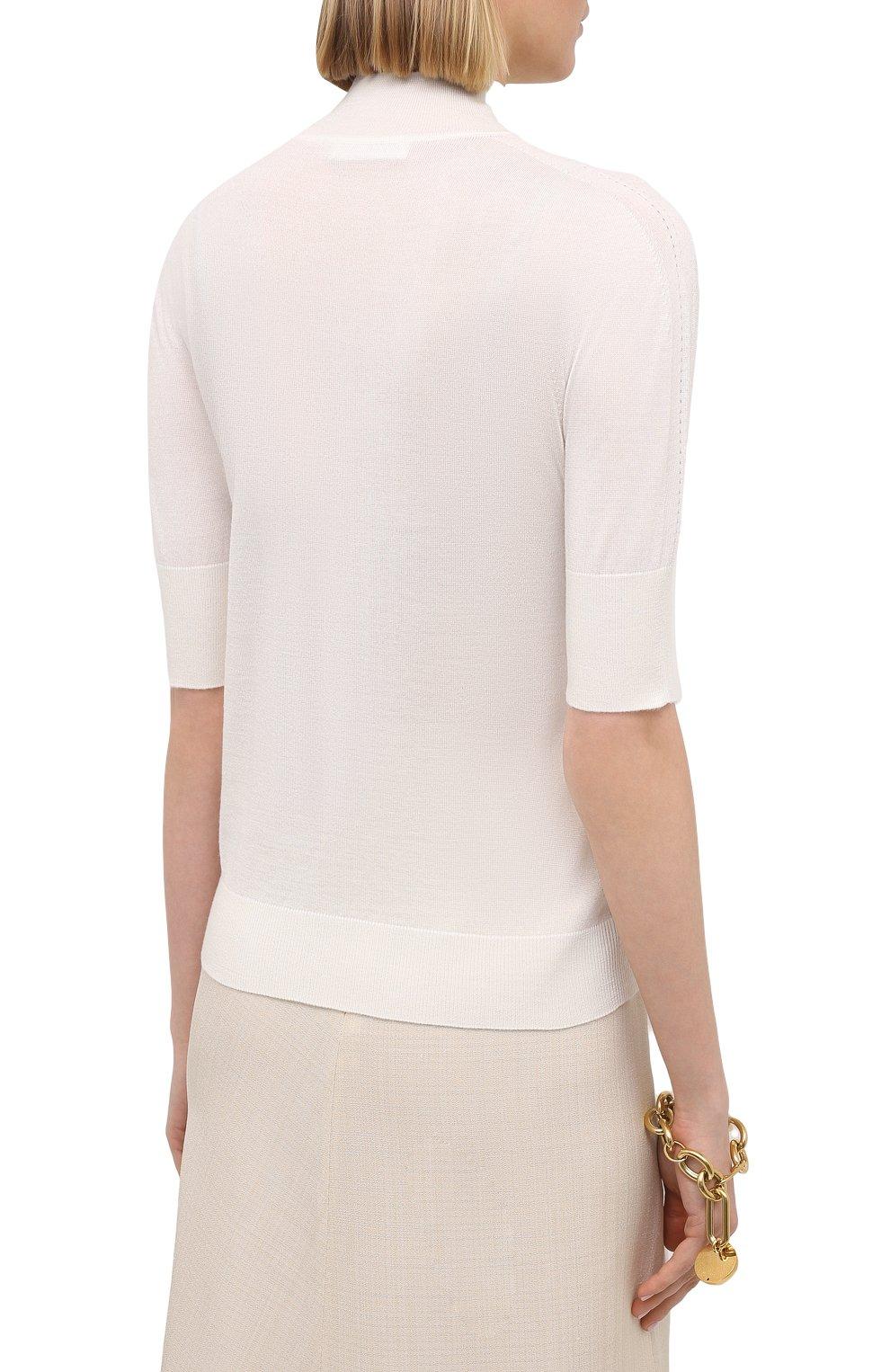 Женский пуловер из кашемира и шелка JIL SANDER белого цвета, арт. JSPS754034-WSY11008 | Фото 4