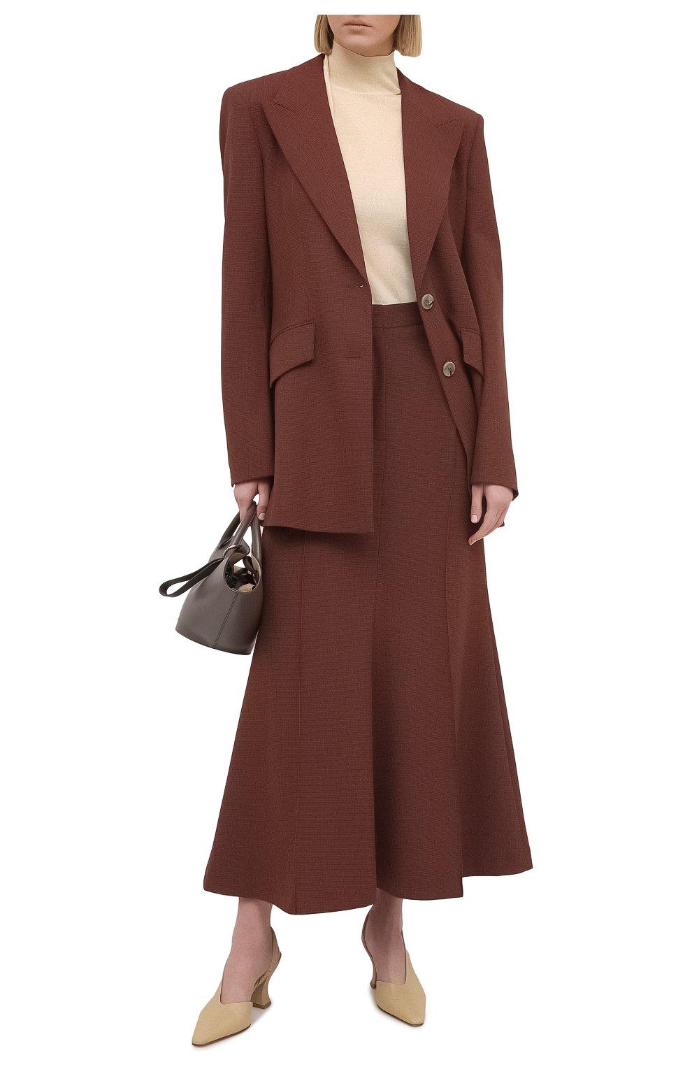 Женский пуловер из кашемира и шелка JIL SANDER кремвого цвета, арт. JSPS754034-WSY11008   Фото 2