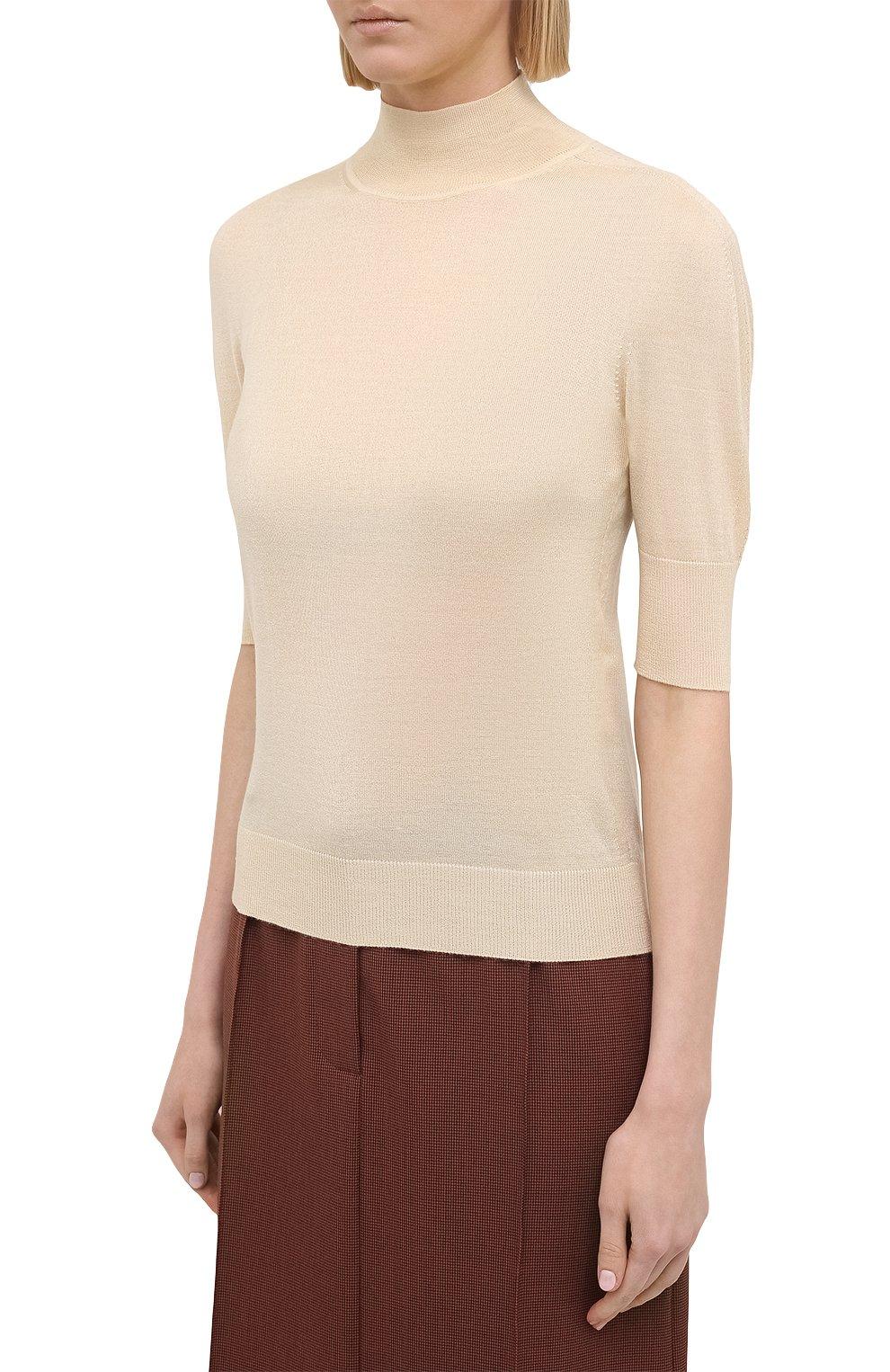 Женский пуловер из кашемира и шелка JIL SANDER кремвого цвета, арт. JSPS754034-WSY11008   Фото 3