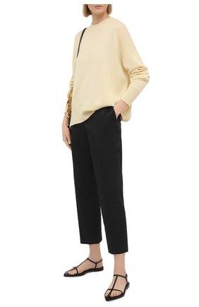 Женские хлопковые брюки JIL SANDER черного цвета, арт. JSPS300800-WS24380L | Фото 2
