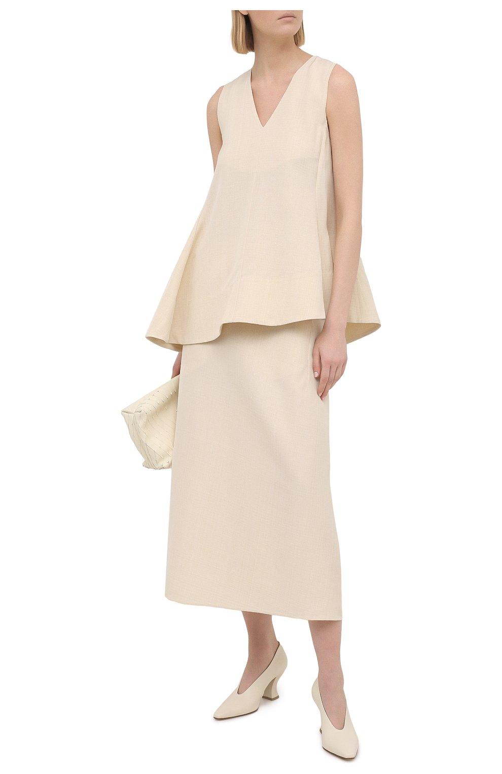 Женская юбка из вискозы и шелка JIL SANDER кремвого цвета, арт. JSPS350204-WS390300   Фото 2