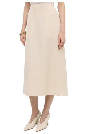 Женская юбка из вискозы и шелка JIL SANDER кремвого цвета, арт. JSPS350204-WS390300   Фото 3