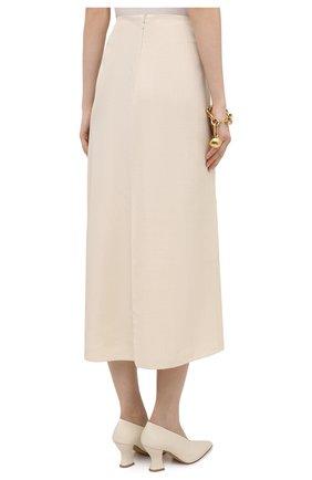 Женская юбка из вискозы и шелка JIL SANDER кремвого цвета, арт. JSPS350204-WS390300   Фото 4