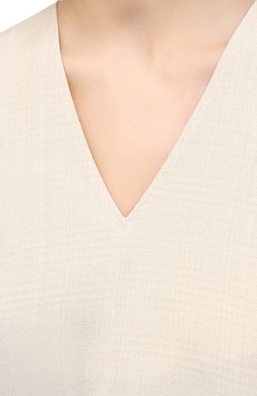 Женский топ из вискозы и шелка JIL SANDER кремвого цвета, арт. JSPS560824-WS390300   Фото 5
