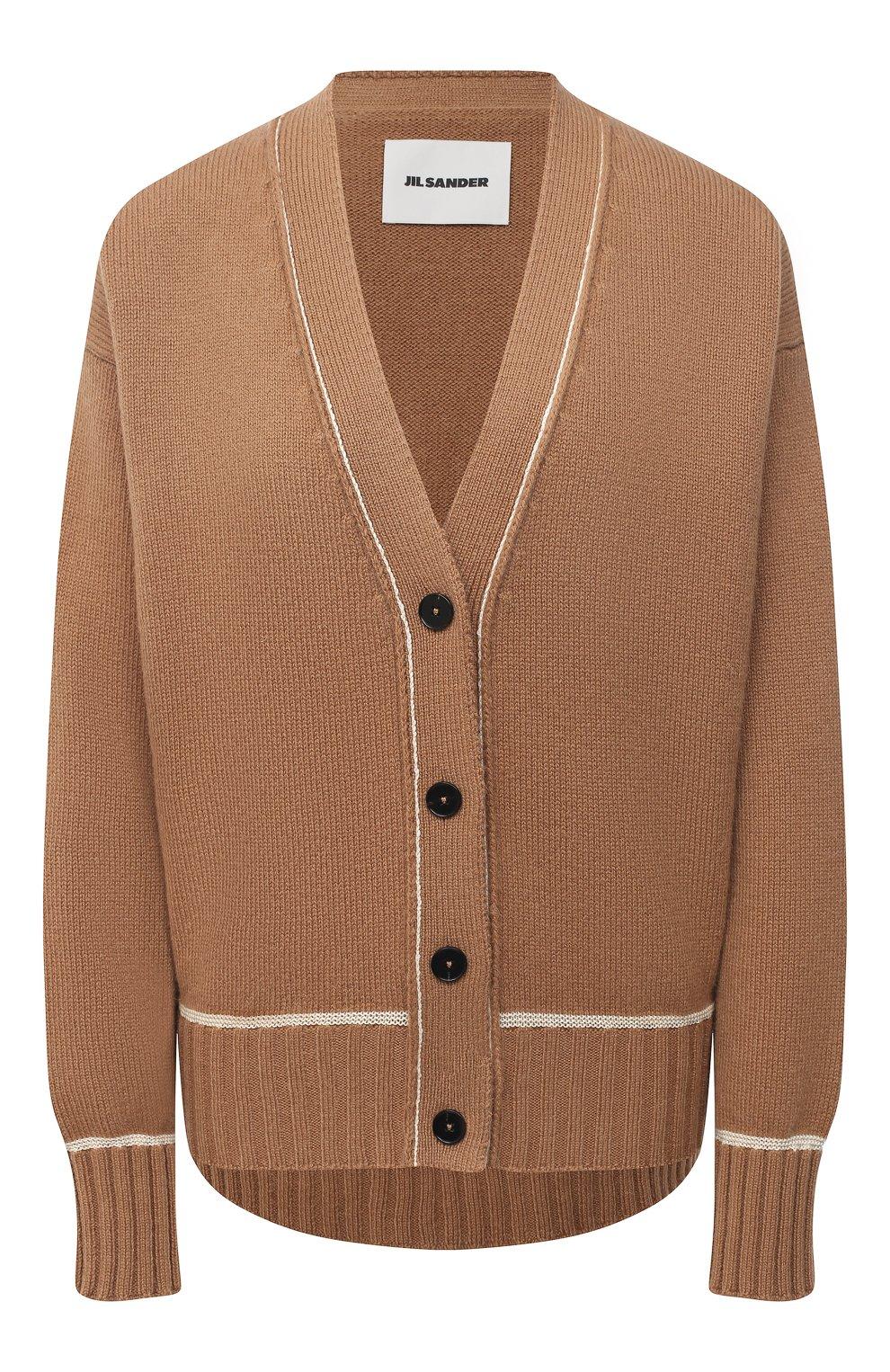 Женский шерстяной кардиган JIL SANDER коричневого цвета, арт. JSPS752055-WSY21278   Фото 1