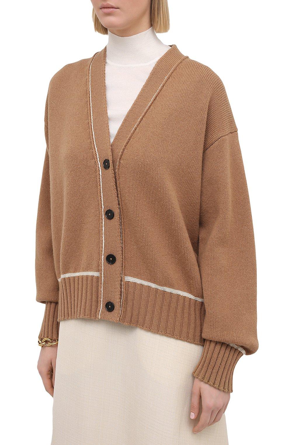 Женский шерстяной кардиган JIL SANDER коричневого цвета, арт. JSPS752055-WSY21278   Фото 3