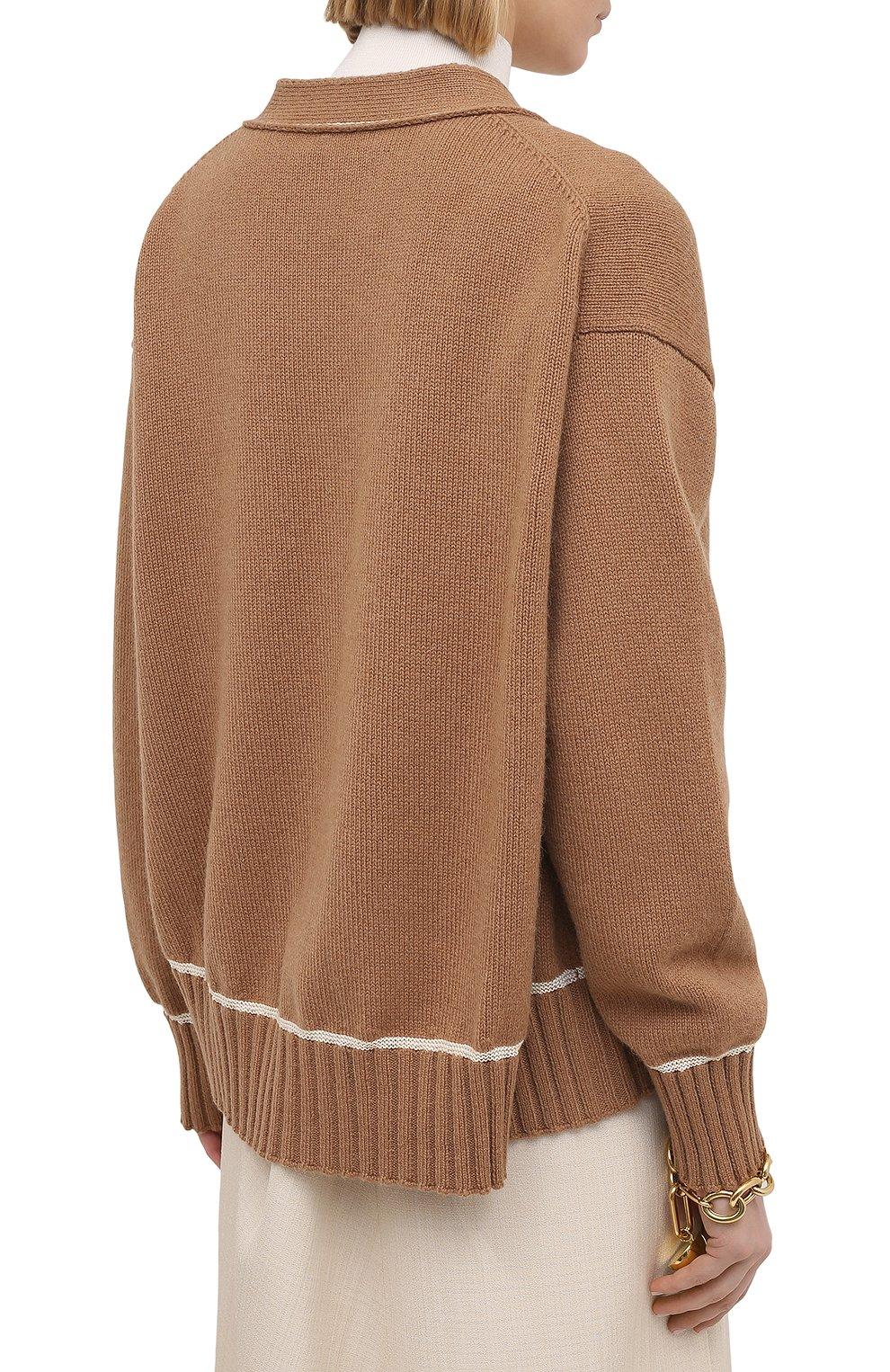 Женский шерстяной кардиган JIL SANDER коричневого цвета, арт. JSPS752055-WSY21278   Фото 4