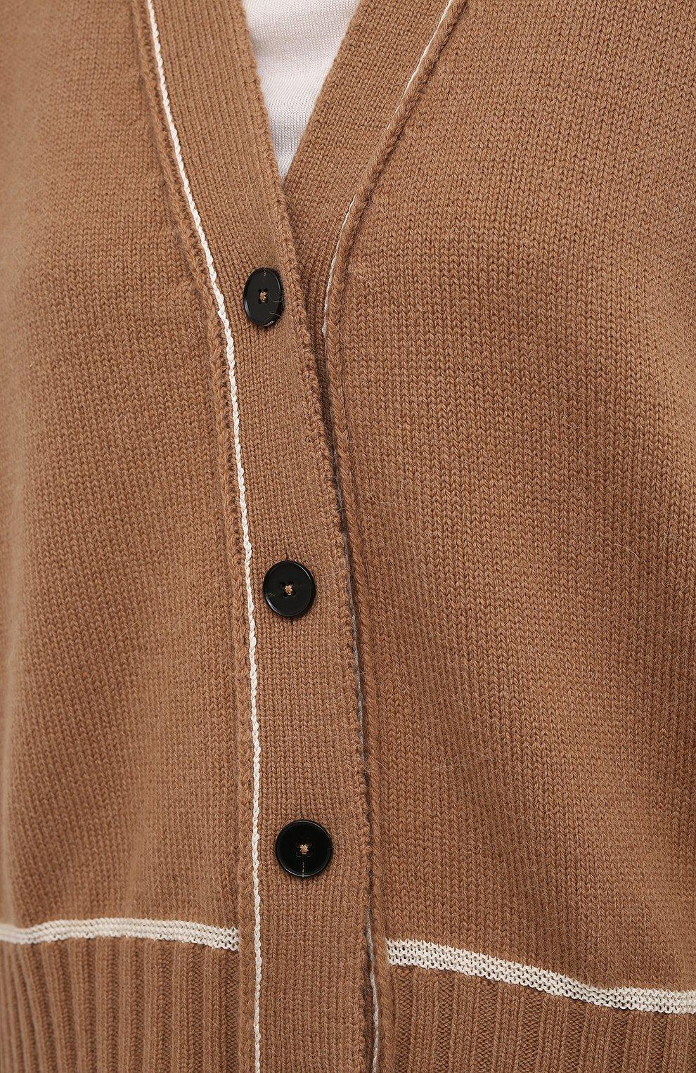 Женский шерстяной кардиган JIL SANDER коричневого цвета, арт. JSPS752055-WSY21278   Фото 5