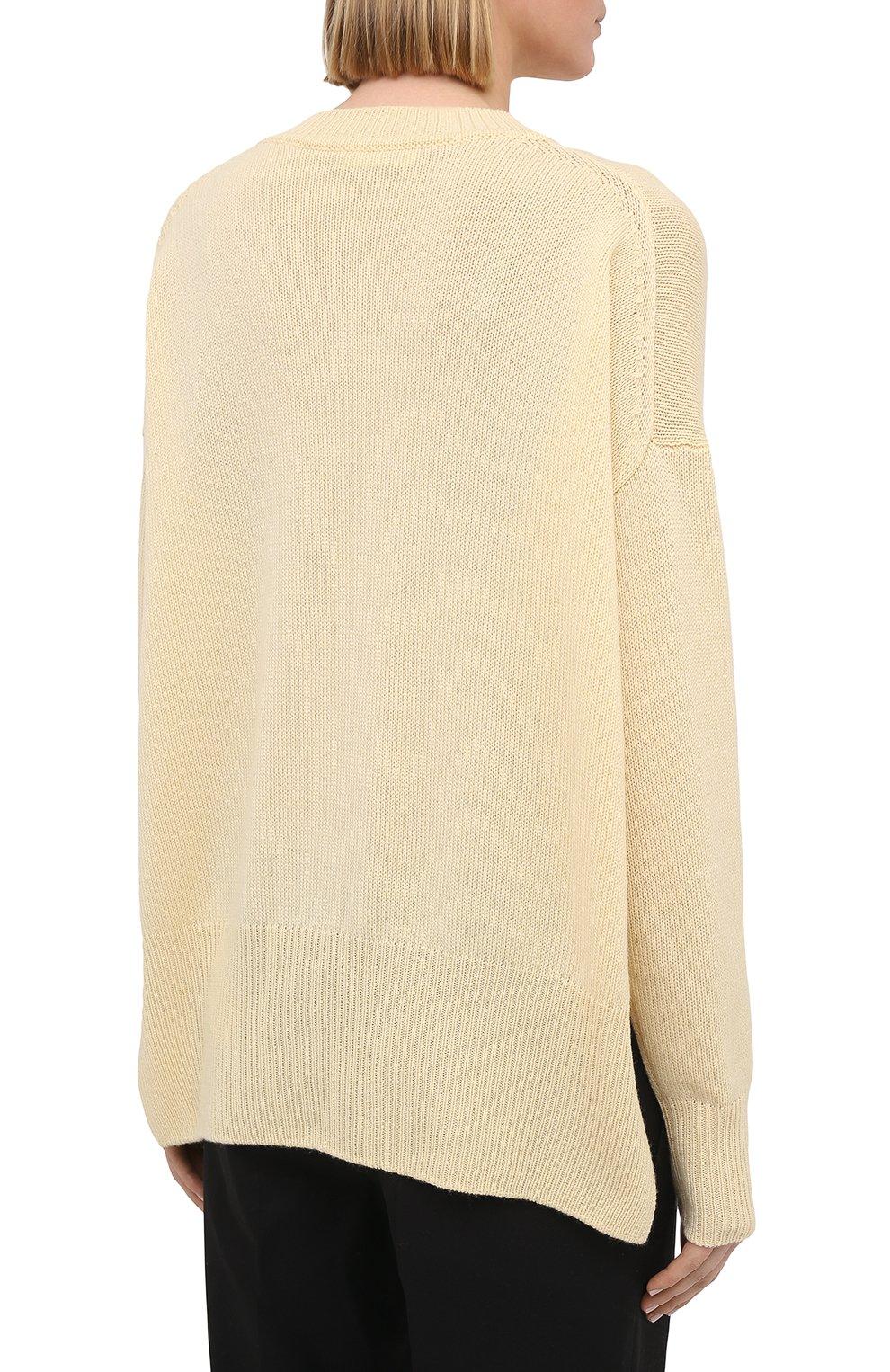 Женский кашемировый пуловер JIL SANDER кремвого цвета, арт. JSPS754020-WSY10008 | Фото 4