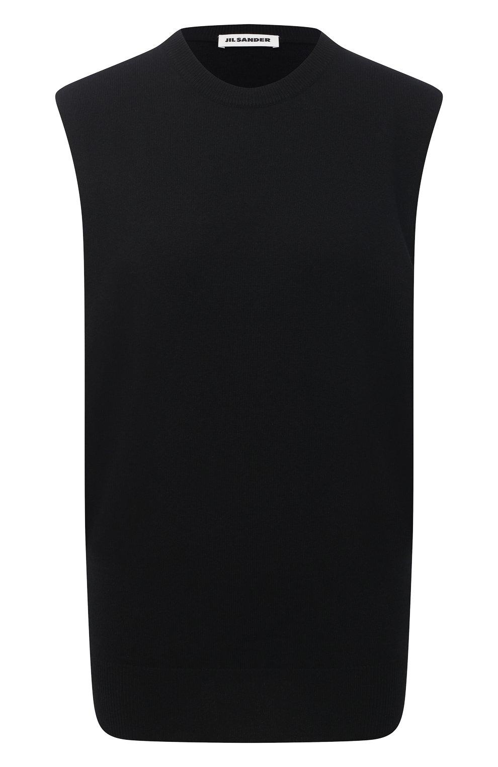 Женский кашемировый топ JIL SANDER черного цвета, арт. JSPS754025-WSY10008   Фото 1