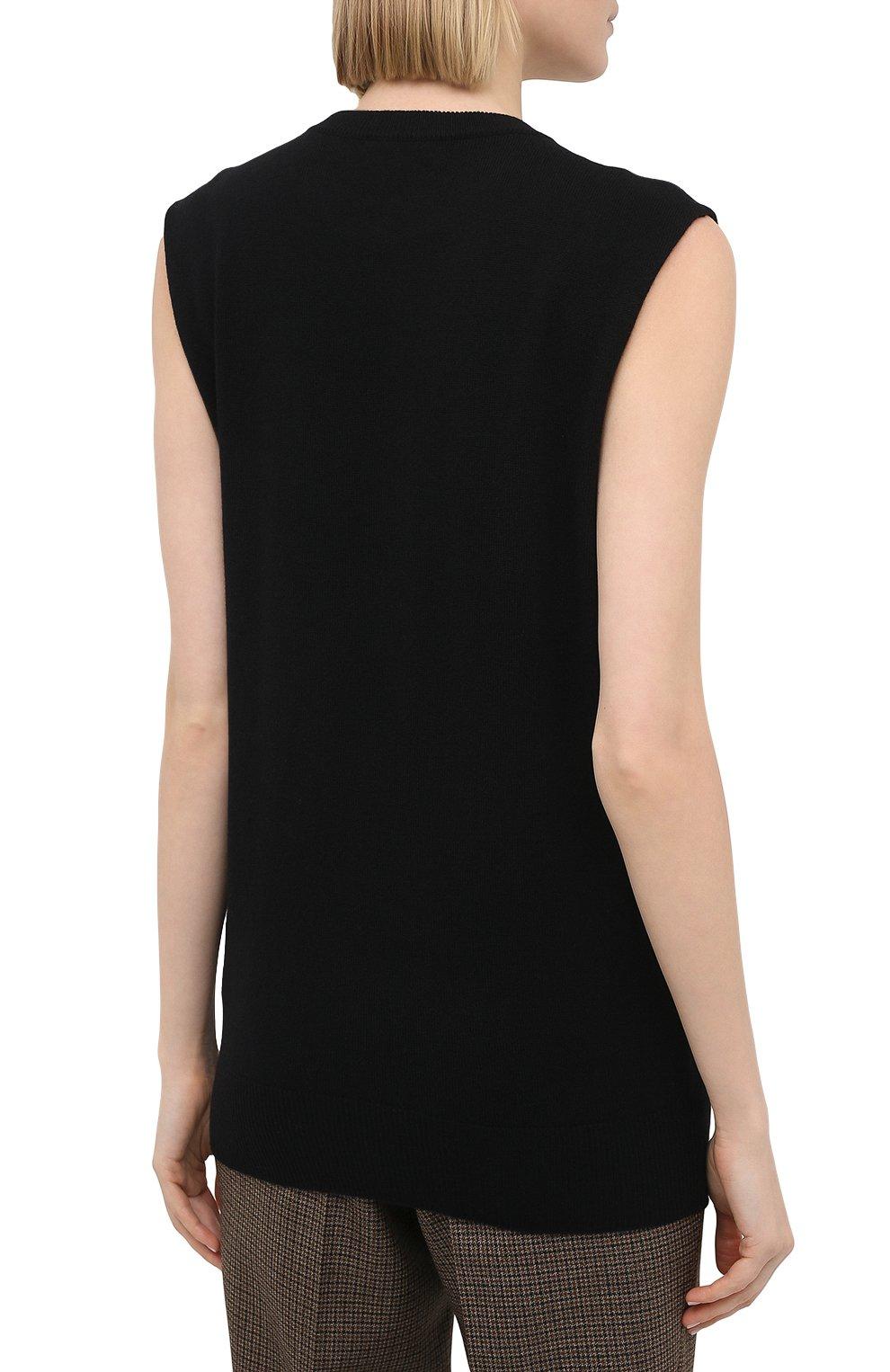 Женский кашемировый топ JIL SANDER черного цвета, арт. JSPS754025-WSY10008   Фото 4