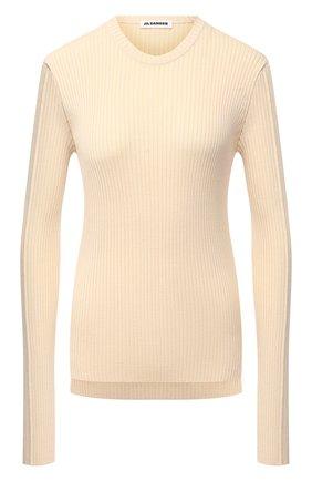 Женский пуловер из шерсти и вискозы JIL SANDER кремвого цвета, арт. JSPS754055-WSY21268   Фото 1