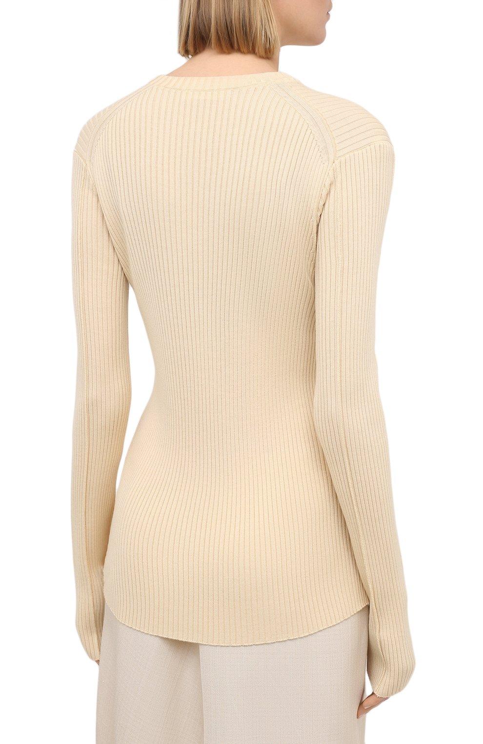 Женский пуловер из шерсти и вискозы JIL SANDER кремвого цвета, арт. JSPS754055-WSY21268   Фото 4