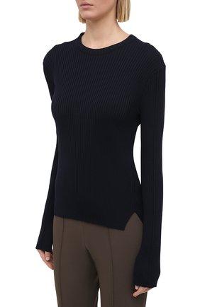 Женский пуловер из шерсти и вискозы JIL SANDER темно-синего цвета, арт. JSPS754055-WSY21268 | Фото 3