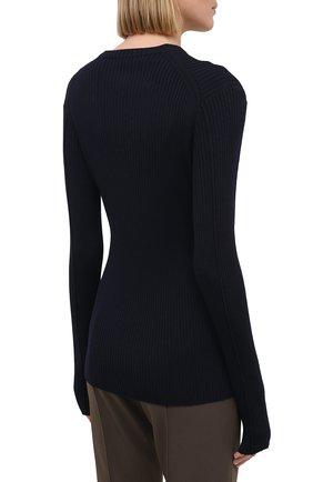 Женский пуловер из шерсти и вискозы JIL SANDER темно-синего цвета, арт. JSPS754055-WSY21268 | Фото 4