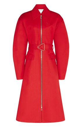 Женский хлопковый тренч BOTTEGA VENETA красного цвета, арт. 646956/V0O20 | Фото 1
