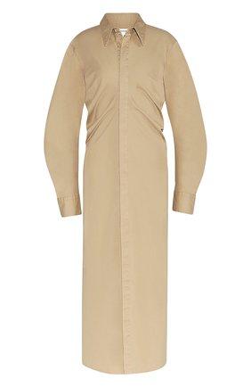 Женское хлопковое платье BOTTEGA VENETA бежевого цвета, арт. 647122/V0GW0 | Фото 1