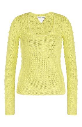 Женский хлопковый пуловер BOTTEGA VENETA желтого цвета, арт. 647743/V0DW0 | Фото 1
