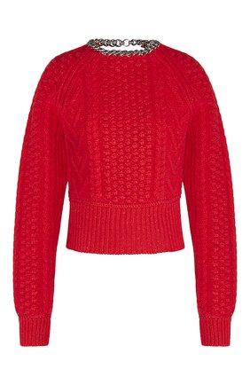 Женский шерстяной свитер BOTTEGA VENETA красного цвета, арт. 651630/V0GP0 | Фото 1