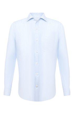 Мужская льняная рубашка LORO PIANA голубого цвета, арт. FAL6145 | Фото 1