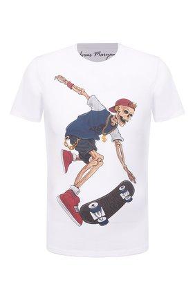 Мужская хлопковая футболка BISIBIGLIO белого цвета, арт. R04 SKULL SKATEB0ARD/RIF (C0TT0NE PESANTE) | Фото 1