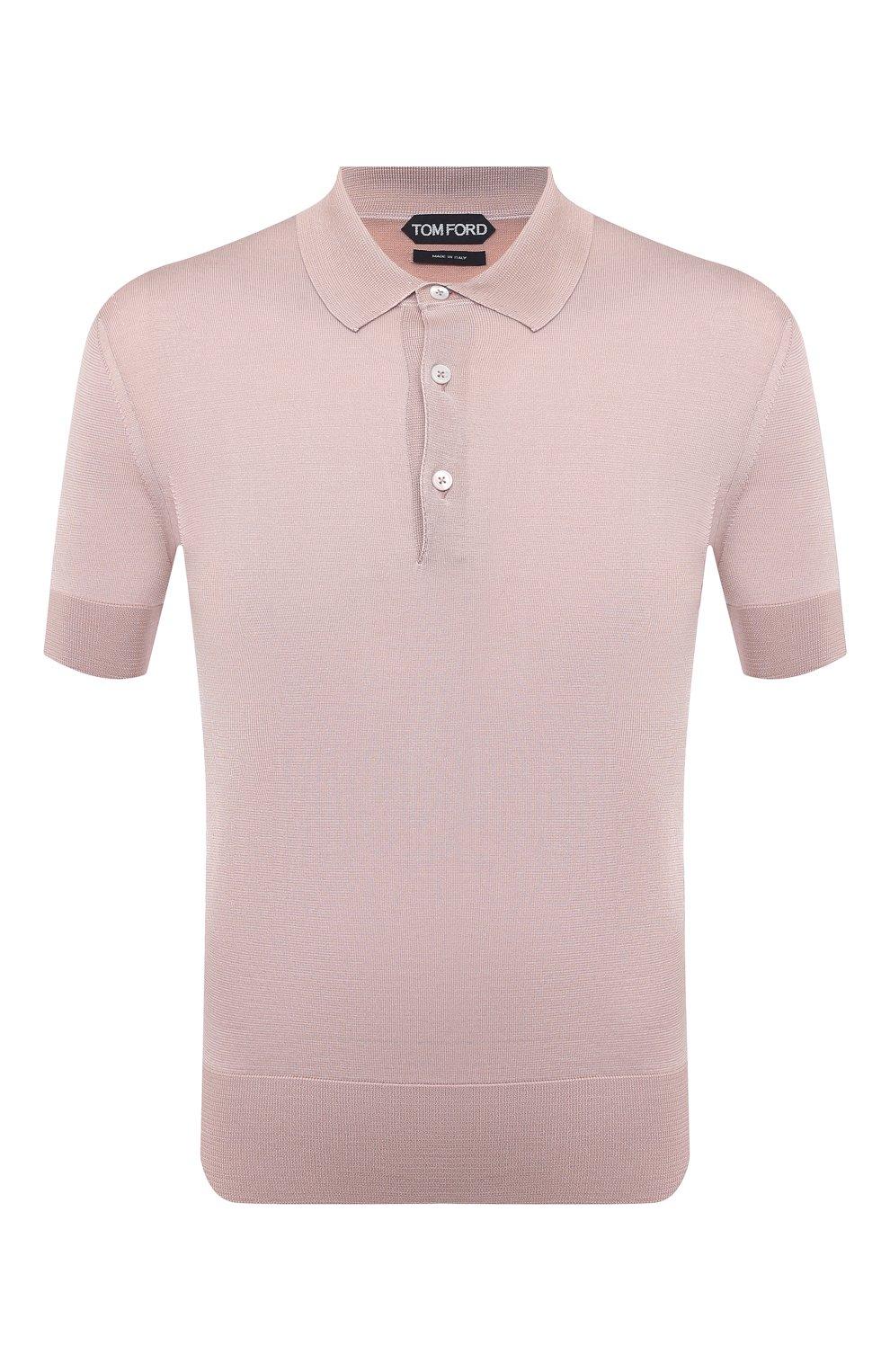Мужское шелковое поло TOM FORD светло-розового цвета, арт. BWS94/TFKC33   Фото 1