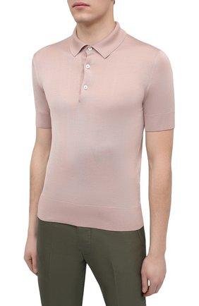 Мужское шелковое поло TOM FORD светло-розового цвета, арт. BWS94/TFKC33   Фото 3