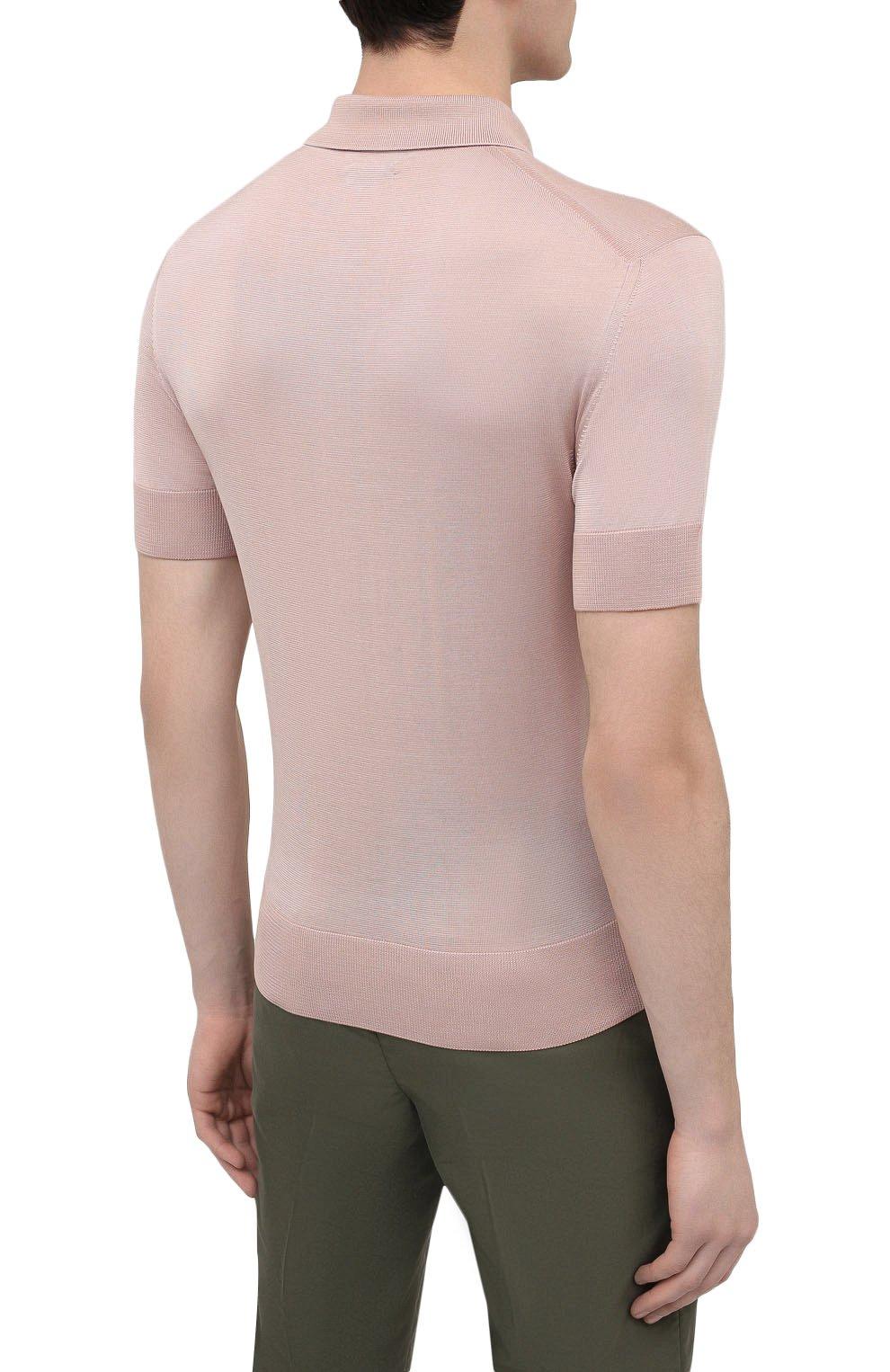 Мужское шелковое поло TOM FORD светло-розового цвета, арт. BWS94/TFKC33   Фото 4