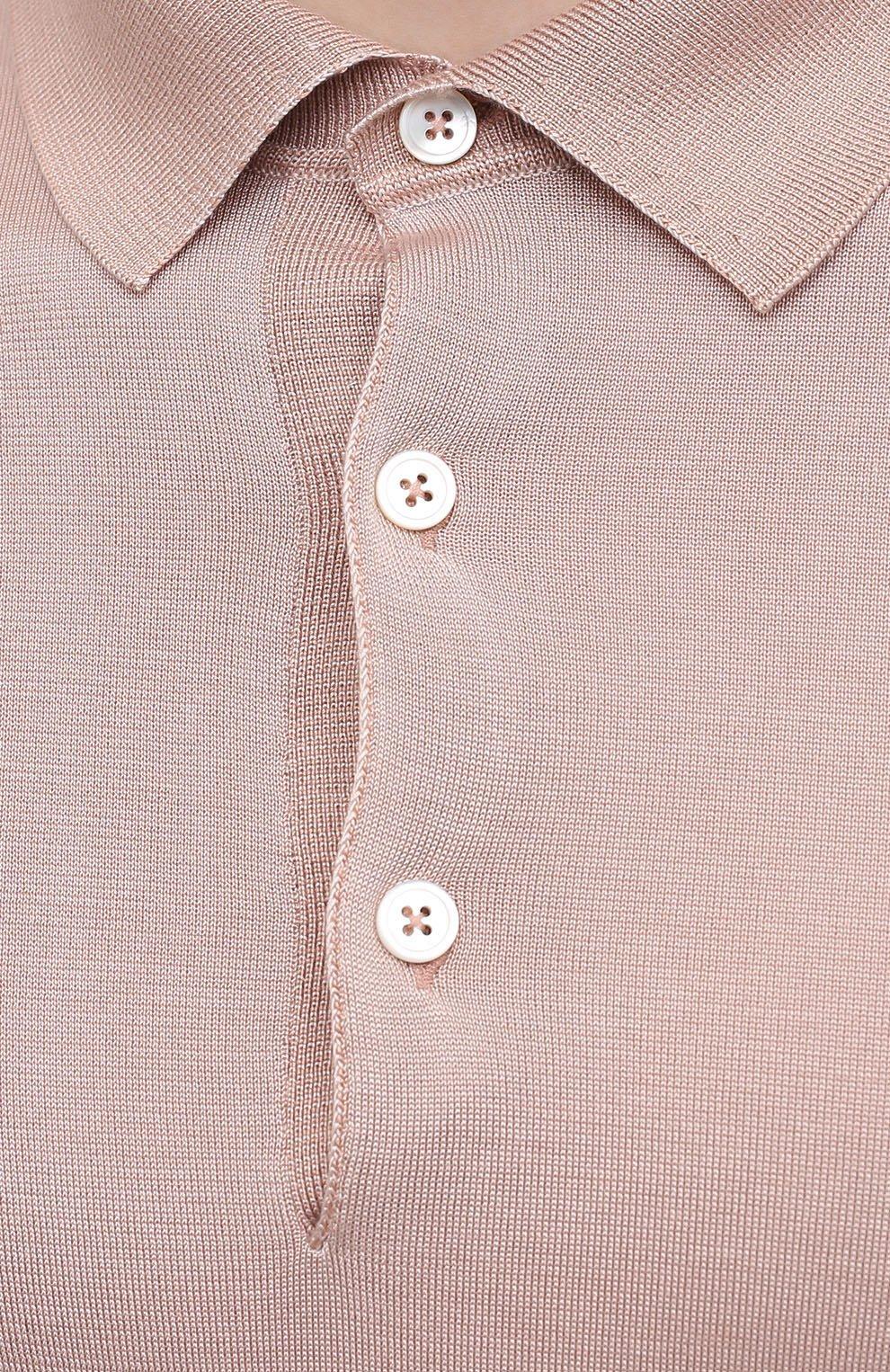 Мужское шелковое поло TOM FORD светло-розового цвета, арт. BWS94/TFKC33   Фото 5