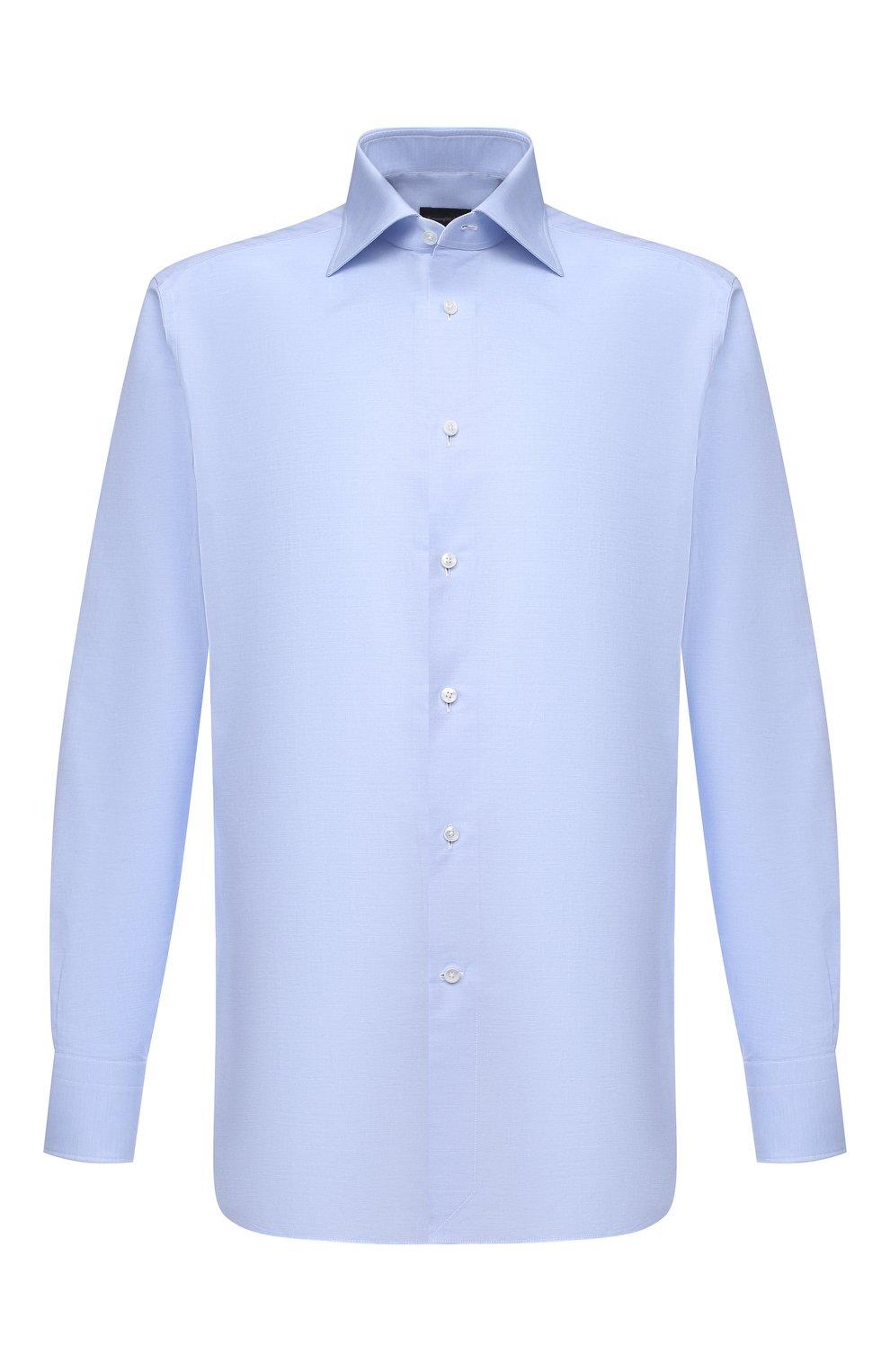 Мужская хлопковая сорочка ERMENEGILDO ZEGNA голубого цвета, арт. 901030/9RS0GS   Фото 1